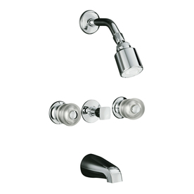 KOHLER Coralais Polished Chrome 3-Handle Tub and Shower Faucet Trim Kit with Single-Function Showerhead