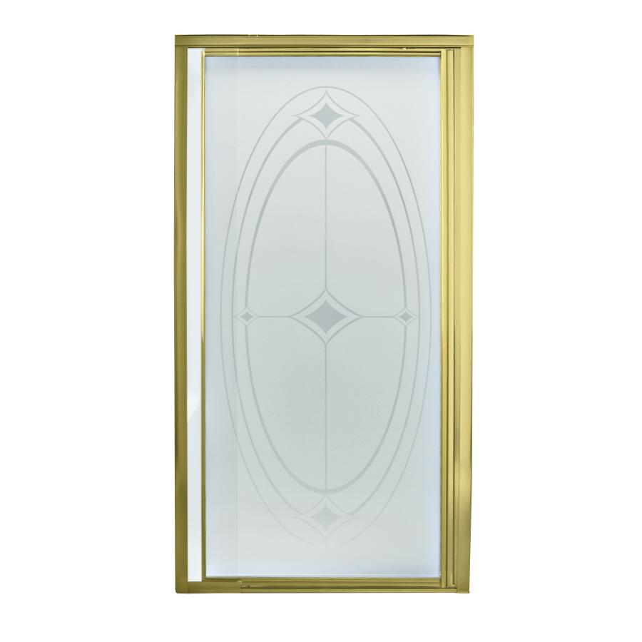 Shop Sterling Polished Brass Framed Pivot Shower Door At