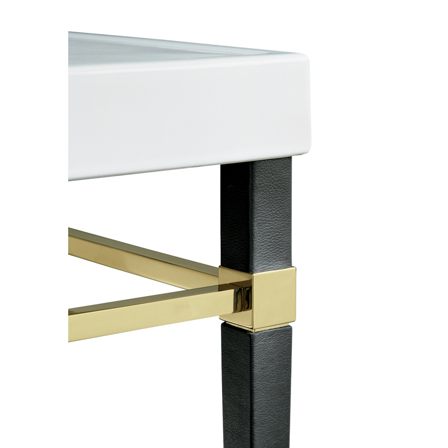 Shop kohler black leather square tapered french gold metal for Table legs lowes