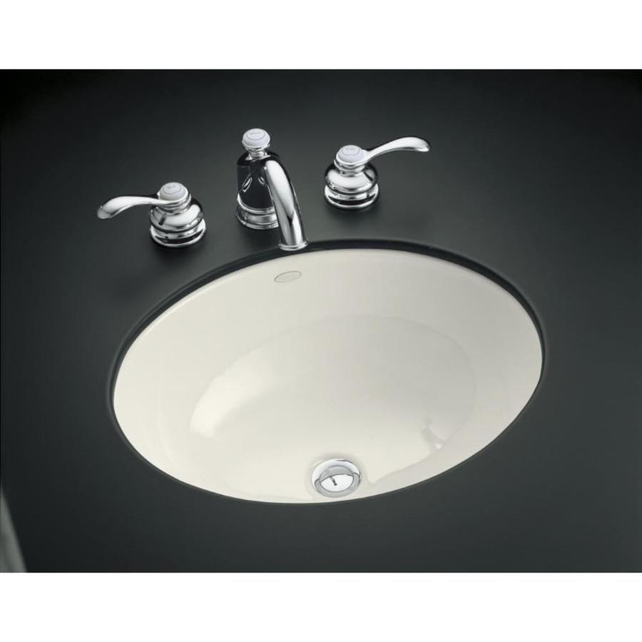Shop KOHLER Caxton Biscuit Undermount Oval Bathroom Sink at Lowes.com