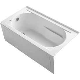 KOHLER 60-in x 32-in Devonshire White Oval-in-Rectangle Skirted Bathtub with Left-Hand Drain