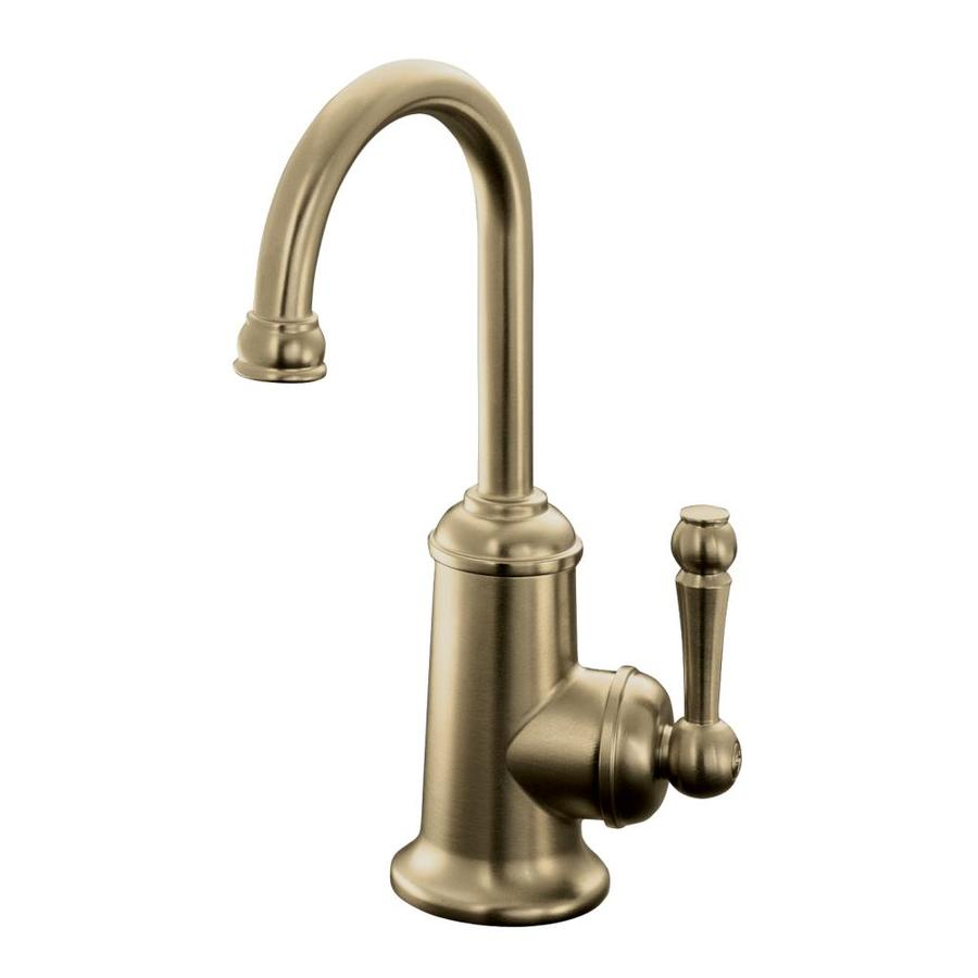 shop kohler wellspring vibrant brushed bronze 1 handle brushed bronze single hole bathroom faucets