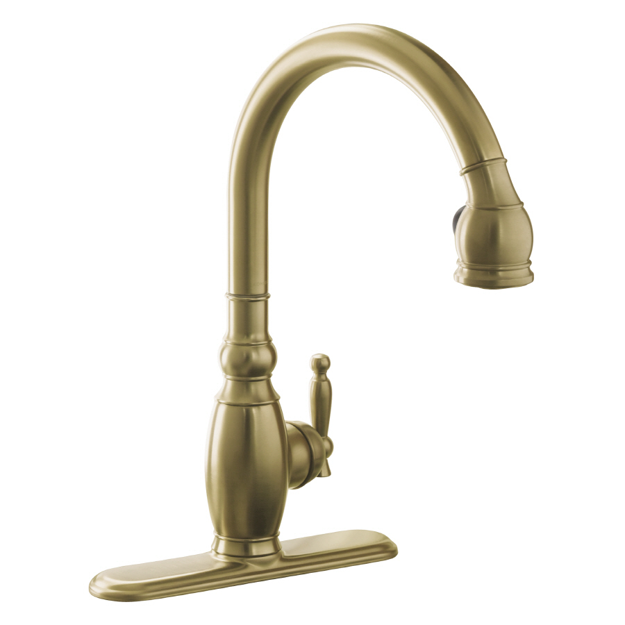 shop kohler vinnata vibrant brushed bronze 1 handle pull down kitchen