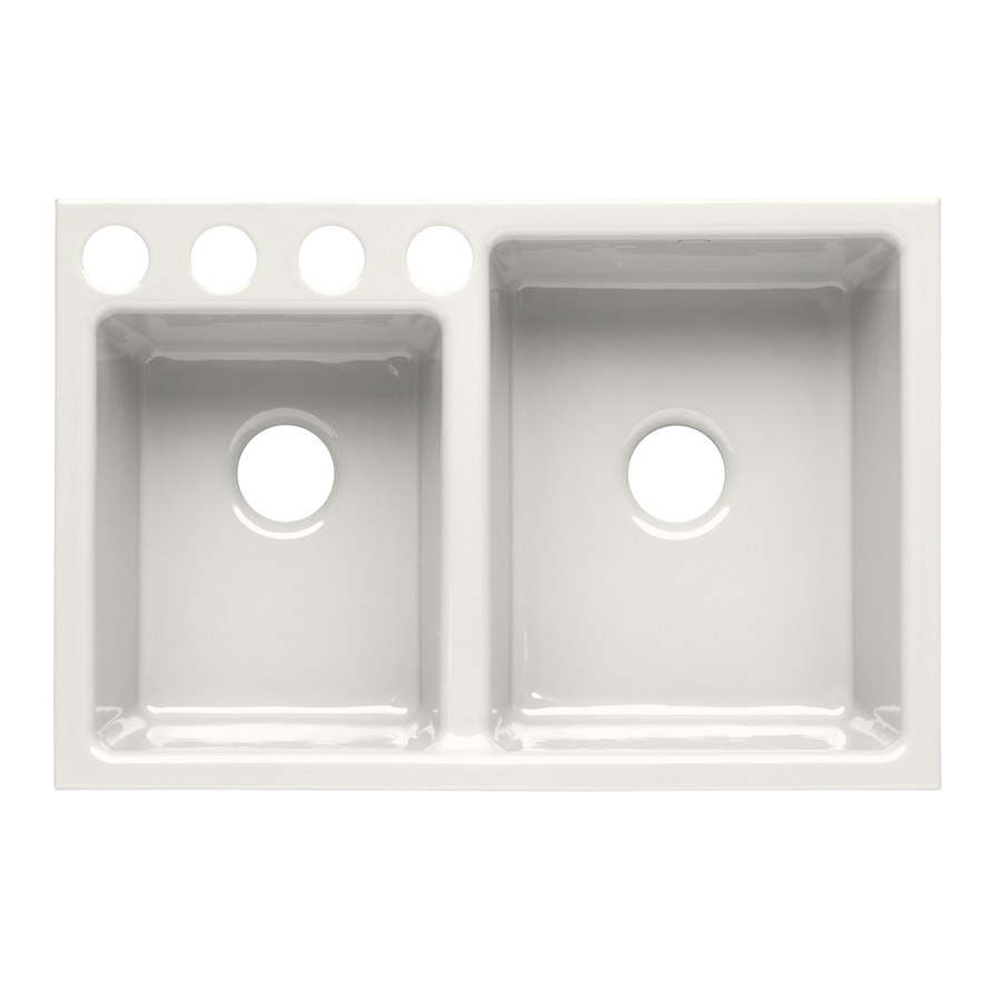 Kohler Double Sink : KOHLER Clarity Double-Basin Undermount Enameled Cast Iron Kitchen Sink ...