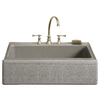 KOHLER Alencon Lace 22.125-in x 33-in Sandbar Single-Basin Cast Iron Undermount 4-Hole Commercial/Residential Kitchen Sink
