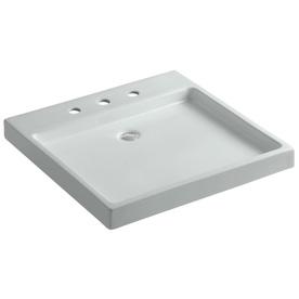 Kohler Square Sink : Shop KOHLER Purist Ice Grey Fire Clay Vessel Square Bathroom Sink at ...
