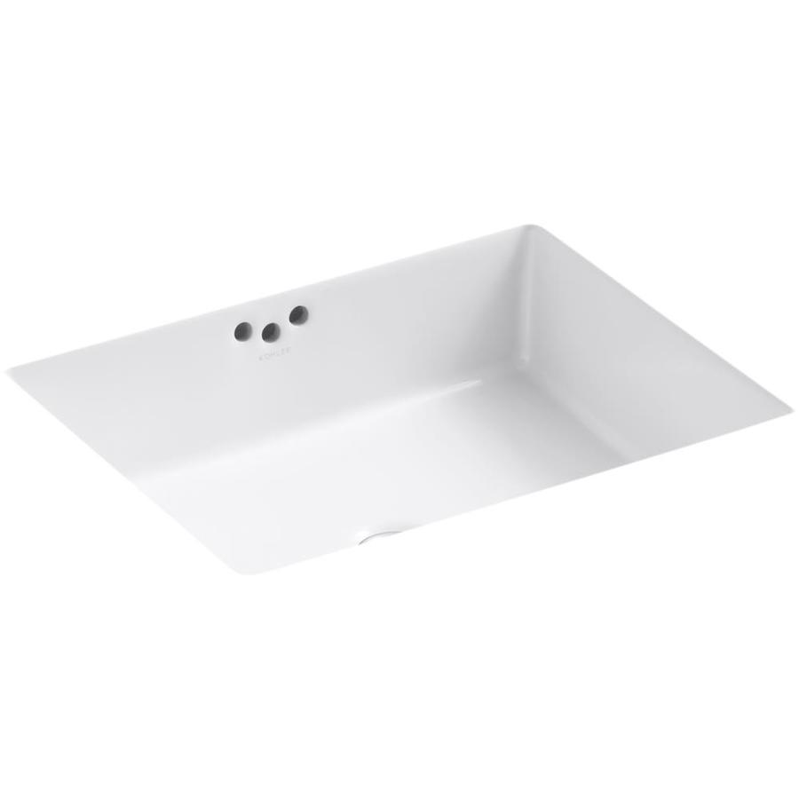 Shop KOHLER Kathryn White Undermount Rectangular Bathroom Sink with ...