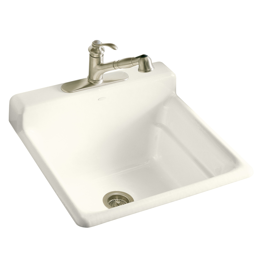 shop kohler biscuit cast iron laundry sink at