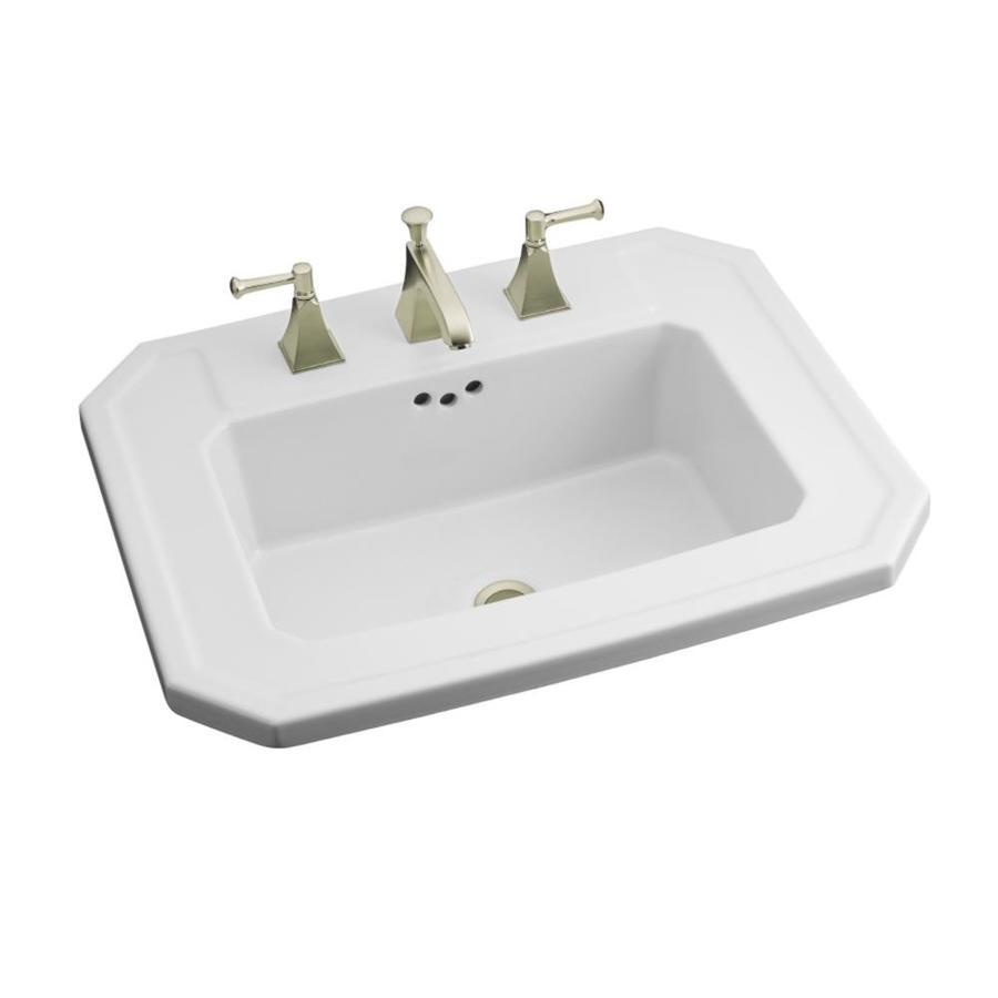 Shop KOHLER Kathryn White Drop-In Rectangular Bathroom Sink at Lowes ...