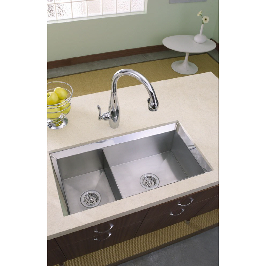 Kohler Stainless Sink : Shop KOHLER Poise 16-Gauge Double-Basin Undermount Stainless Steel ...