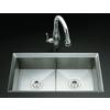 KOHLER Poise 18-in x 33-in Stainless Steel Double-Basin Undermount Commercial Kitchen Sink