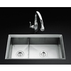 KOHLER Poise 18-in x 33-in Double-Basin Stainless Steel Undermount Commercial/Residential Kitchen Sink