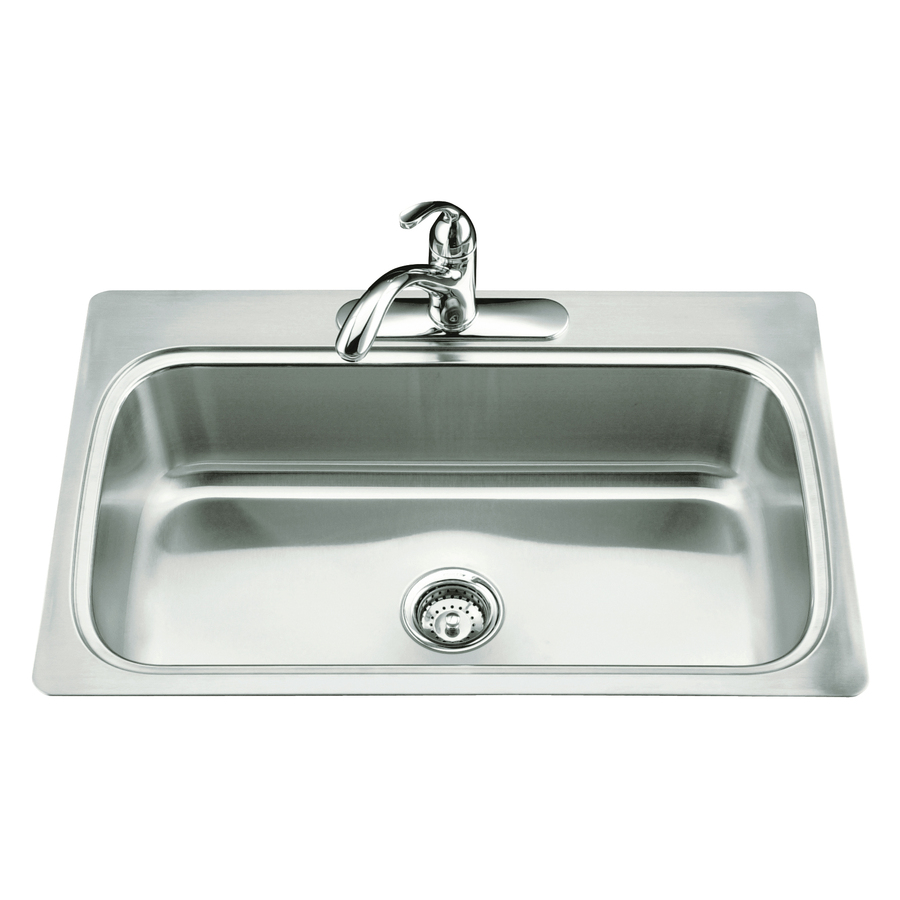 Kohler Stainless Kitchen Sink : Shop KOHLER Verse Stainless Steel Single-Basin Drop-In Kitchen Sink at ...