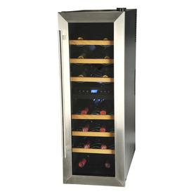 KALORIK 21-Bottle Black and Stainless Steel Dual Zone Freestanding Wine Chiller