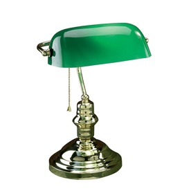 Lite Source 14.5-in Adjustable Brass Desk Lamp with Glass Shade