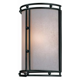 Lite Source 10-1/4-in H Bronze Wall-Mounted Lamp with Glass Shade