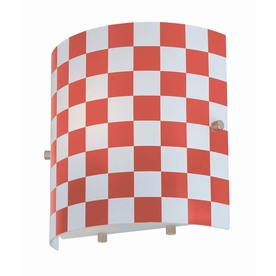 Lite Source 8-in H Red/Pink Wall-Mounted Lamp with Glass Shade