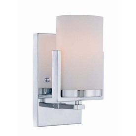 Lite Source 9-1/4-in H Chrome Wall-Mounted Lamp with Glass Shade