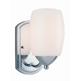 Lite Source 8-in H Chrome Wall-Mounted Lamp with Glass Shade