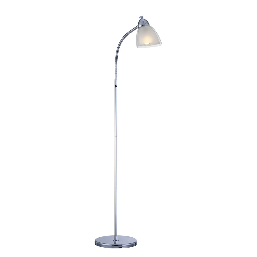 source 54 in chrome indoor floor lamp with plastic shade at. Black Bedroom Furniture Sets. Home Design Ideas