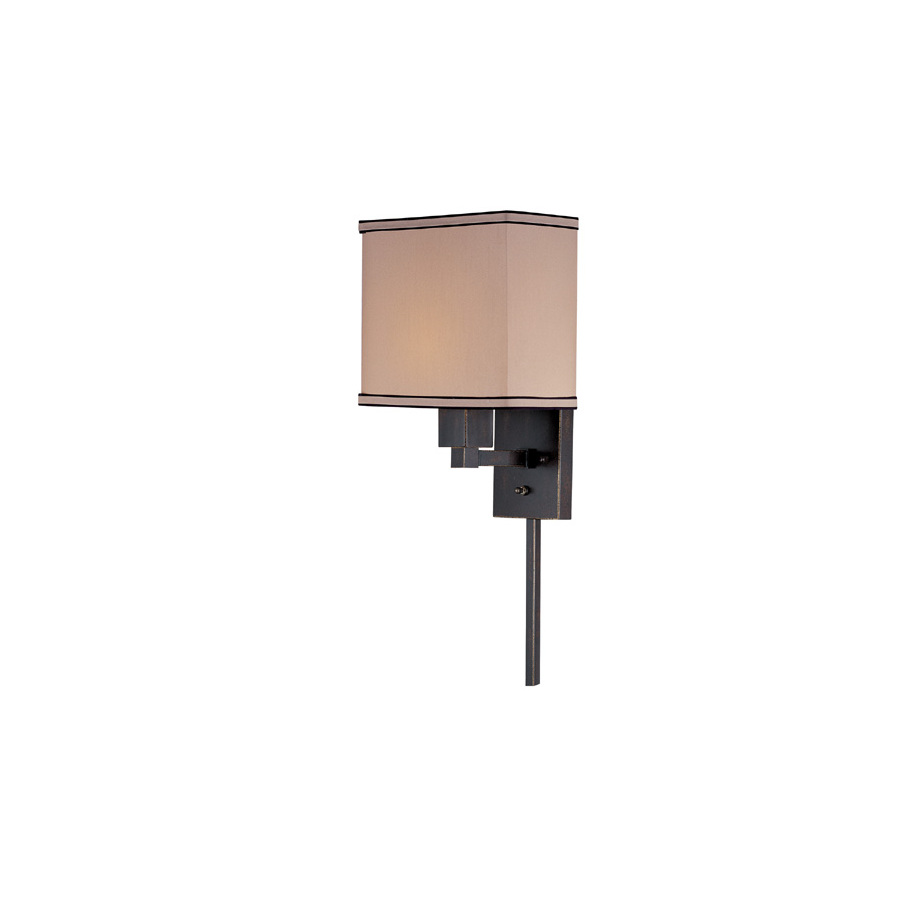 Wall Mount Lamp With Shade : Shop Lite Source 14-in H Bronze Wall-Mounted Lamp with Fabric Shade at Lowes.com