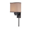 Lite Source 14-in H Bronze Wall-Mounted Lamp with Fabric Shade