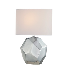 Lite Source Piera 20.25-in Chrome Indoor Table Lamp with Fabric Shade