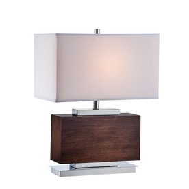 Lite Source Firmino 23.5-in Polished Steel Indoor Table Lamp with Fabric Shade