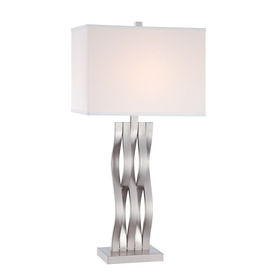 Lite Source Hamo 30-in 3-Way Polished Steel Indoor Table Lamp with Fabric Shade