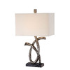 Lite Source Bryceton 29.5-in 3-Way Aged Silver Indoor Table Lamp with Fabric Shade