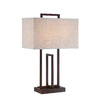 Lite Source Farren 26.5-in Dark Bronze Indoor Table Lamp with Fabric Shade