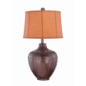 Lite Source 33-1/2-in 3-Way Bronze Indoor Table Lamp with Fabric Shade