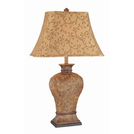 Lite Source 31-3/4-in 3-Way Brown/Tan Indoor Table Lamp with Fabric Shade