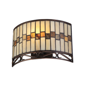 Lite Source 8-in H Bronze Wall-Mounted Lamp with Tiffany-Style Shade