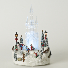 Roman Christmas Resin Lighted Musical Ice Castle Figure