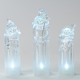 Roman Christmas Plastic Lighted Snowman Ice Cube Figurines