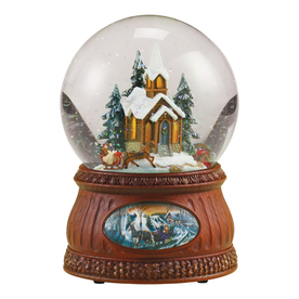 Glitterdome Christmas Resin Musical Sleigh Ride Glitterdome