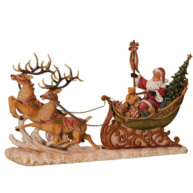 Roman Christmas Resin Santa In Sleigh Figure
