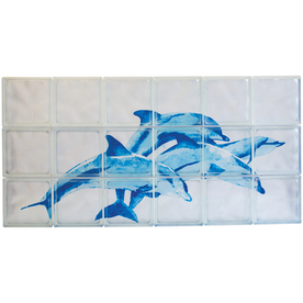 Pittsburgh Corning Expressions Blue Dolphines Mural Glass Block (Common: 24-in H x 48-in W x 4-in D; Actual: 23.75-in H x 47.75-in W x 3.87-in D)