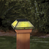 Maine Ornamental Jade Glass and Wood Solar Post Cap Light (Common 4-in x 4-in; Actual: 3-5/8-in x 3-5/8-in)