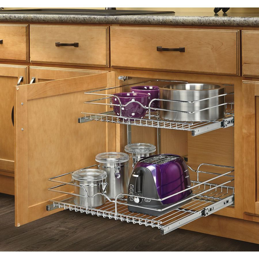 D X 19 In H 2 Tier Metal Pull Out Cabinet Basket At