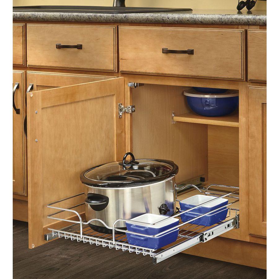 shop rev a shelf 17 5 in w x 22 in d x 7 in h 1 tier metal. Black Bedroom Furniture Sets. Home Design Ideas