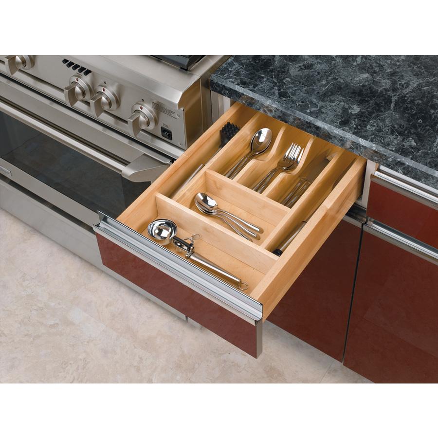 Shop rev a shelf 22 in x wood cutlery insert for Wallpaper tray home depot