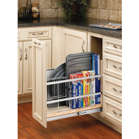Rev-A-Shelf 8-in W x 22.44-in D x 19.5-in H 1-Tier Wood Pull Out Cabinet Basket