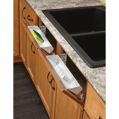 Zoomed: Rev-A-Shelf 1-Tier Plastic Pull Out Cabinet Basket