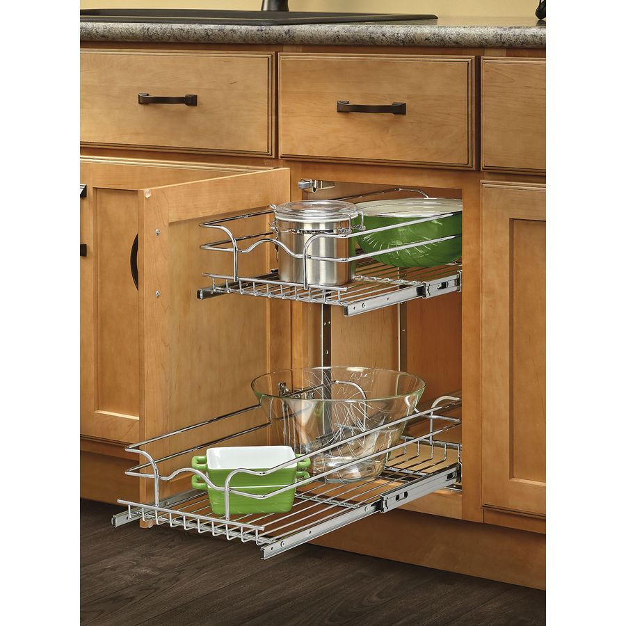 shop rev a shelf w x 22 in d x 19 in h 2 tier metal pull out cabinet basket at. Black Bedroom Furniture Sets. Home Design Ideas