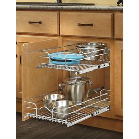 Rev-A-Shelf 14.75-in W x 22.06-in D x 19-in H 2-Tier Metal Pull Out Cabinet Basket