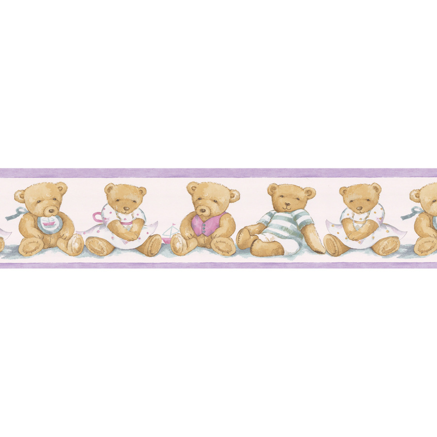 Wallcovering 5 1 4 quot teddy bear prepasted wallpaper border at lowes com
