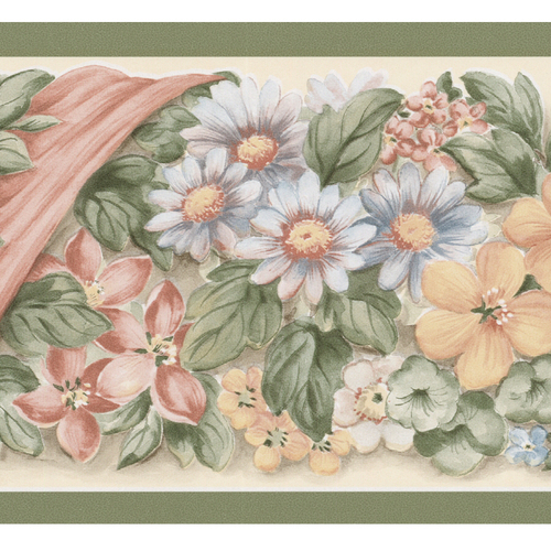ribbon wallpaper. Zoomed: Brewster Wallcovering Cream Floral Ribbon Wallpaper Border