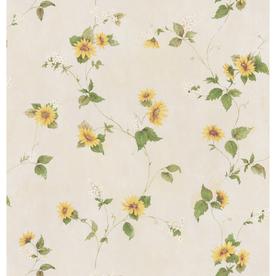 Brewster Wallcovering Yellow Sunflower Peelable Vinyl Prepasted Wallpaper